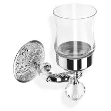 crystal glass wall mounted toothbrush holder tumbler