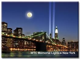 Brooklyn Bridge Lights Brooklyn Bridge And Wtc Memorial Lights New York City Photo Souvenir Refrigerator Magnet Nyc Fridge Magnets