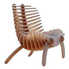 wooden chair. animal shaped brown modern varnished wood chair, comfy chair design with unique idea (fish bone) wooden