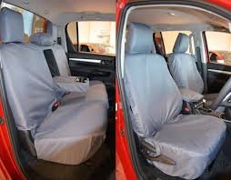 toyota hilux 2016 on front and rear tailored seat covers in grey for icon invincible invicible x only