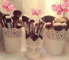 set of 3 make up brush holder pots white 2 x large 1 x small uk