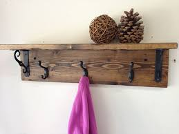 3 Hook Wall Mounted Coat Rack Handmade wall mount rustic wood coat rack with shelf A beautiful 14