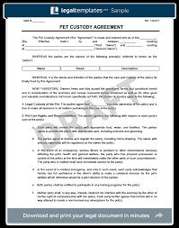 custody agreement examples pet custody agreement create a pet custody agreement template