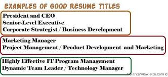 Titles For Resume What Is A Resume Title What Is A Good Title For A Resume