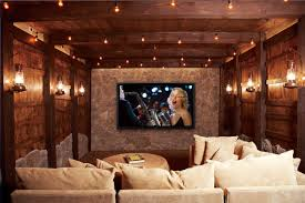 movie room lighting. Home Theater Design Interior With Rustic Style Using Wooden Ceiling And White Fabric Sofa Decoration Movie Room Lighting I
