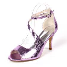 Light Purple High Heels Womens Sandals Stiletto Heel Open Toe Buckle Pu Minimalism Fall Spring Summer Champagne Light Purple Silver Party Evening