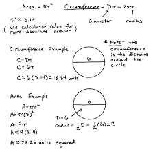 area and cirference of circles lesson