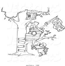 Small Picture Vector of a Cartoon Boy Playing near His Pirate Tree House