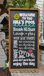 Swimming Pool Decor Signs Personalized Welcome To The POOL Rustic Distressed Typography 12