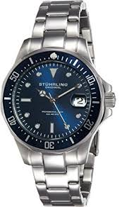 stuhrling original men s quartz watch blue dial analogue stuhrling original men s quartz watch blue dial analogue display and silver stainless steel bracelet 664 02