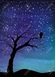 tree crosses on the night sky digital watercolor painting stock vector 81734115