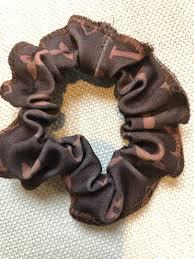 Designer Scrunchies Scrunchie Designer Inspired Brown Gold Lvs