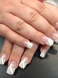 Nail Designs Pictures French Tip Solar Nails French Tips With White And Silver Design White