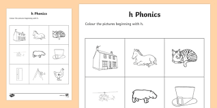 Our phonics worksheets offer the beginning stage of making the connection by identifying the first letter of the names of each object. H Phonics Colouring Worksheet Worksheet Teacher Made