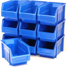garage storage boxes. Modren Boxes 10 BLUE STACKING STORAGE PARTS BINS FOR GARAGE BOX Plastic Parts  Bins And Garage Storage Boxes Equip247UK