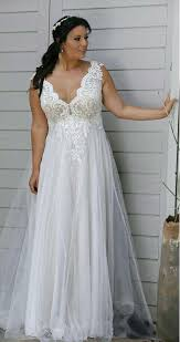 Wedding Dress Plus Size Chart Marilena Sleeveless Lace Empire Waist Wedding Dress In 2019