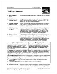 VCC LC Worksheets Resumes & Cover Letters