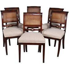 six english regency flame gany cane back upholstered dining chairs