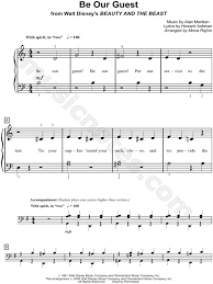 beauty and the beast sheet music be our guest sheet music from beauty and the beast piano stuff