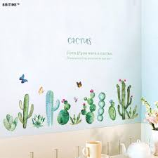 Bibitime Cactus Wall Decal Peel And Stick Wall Stickers Green Plants Cactuses Cacti Flower Butterfly