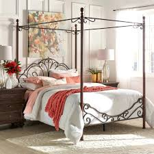 Wrought Iron Four Poster Bed Pleasing Wrought Iron Canopy Bed Frame ...