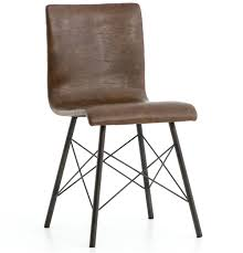 sindric industrial loft brown faux leather black iron dining side chair kathy kuo home