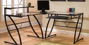 zline belaire glass lshaped computer desk