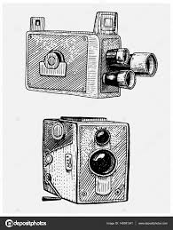 写真映画やフィルム カメラのヴィンテージ刻まれた手描きのスケッチ