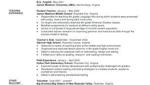 Sample Teacher Resume No Experience Teacher Resume Format Doc