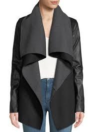 mackage vane wool coat w leather sleeves