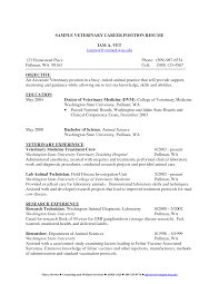 Cover Letter Resume Vet Tech Veterinary Assistantreceptionist