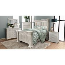 rustic white 4 piece king bedroom set marquis