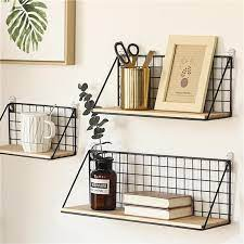 wooden iron wall shelf wall mounted