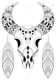 Stylized Animal Skull With Boho Feathers Hand Drawn Ethnic Animal