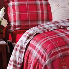 catherine lansfield home kelso reversible tartan check duvet cover set red king