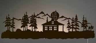 42 cabin in pine forest led back lit lighted metal wall art