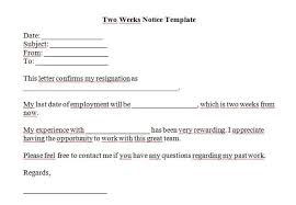 written two weeks notice 40 two weeks notice letters resignation letter templates