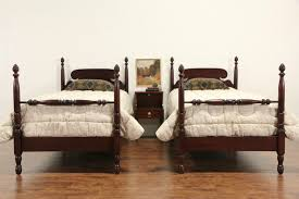 Pineapple Bedroom Furniture Sold Pair Of Mahogany Twin Pineapple 1930s Vintage Poster Beds