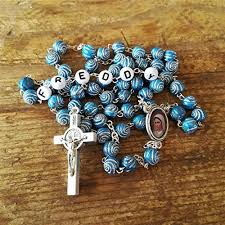 personalized blue catholic rosary beads for men boys first munion confirmation gift name rosary