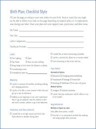 Birth Plan Check List C Section Birth Plan Template 2 Natural Example Editable