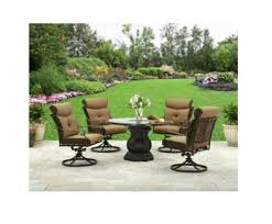 5pc patio dining set 48 pedestal glass table 4 swivel rockers outdoor furniture