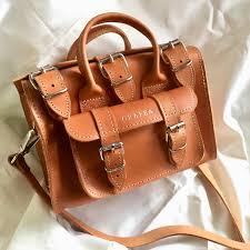 casual style 2way leather dark brown handbags