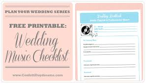wedding checklist templates wedding music checklist wedding planning series