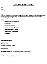 Format Of A Letter Of Intent Of Job Intent Letter Sample Fair Of
