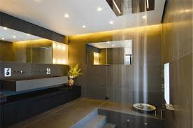 bathroom lighting design. interesting brown tiled bathroom shows open waterfall shower designed in front of modern vanity set with lighting design o