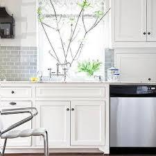 kitchen backsplash subway tile. White Kitchen With Half Tiled Gray Subway Tile Backsplash K