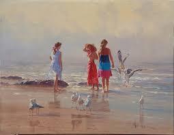 sand and seagulls 30 x 40 oil on canvas robert hagan