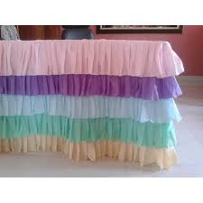 pastel colors rainbow ruffled 5 tier tablecloth table skirt any size 6ft 8ft