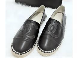 chanel black leather espadrilles espadrilles leather black ref 88873