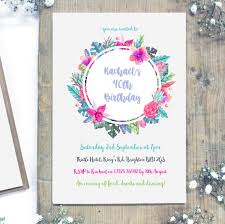 personalised watercolour milestone birthday invitations